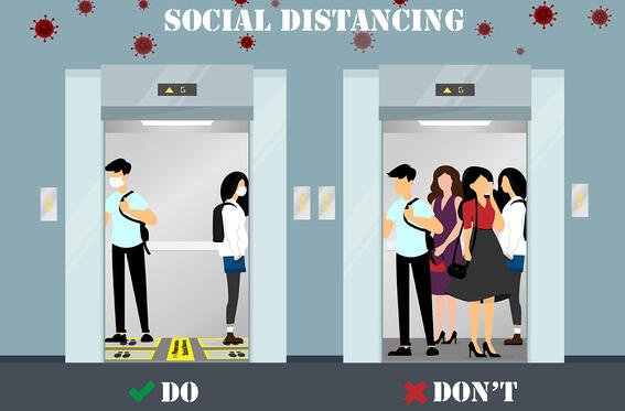 Elevator Social Distancing Do and Donts Infographic