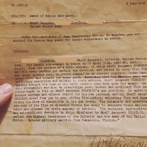 Veteran Bronze Star Medal letter